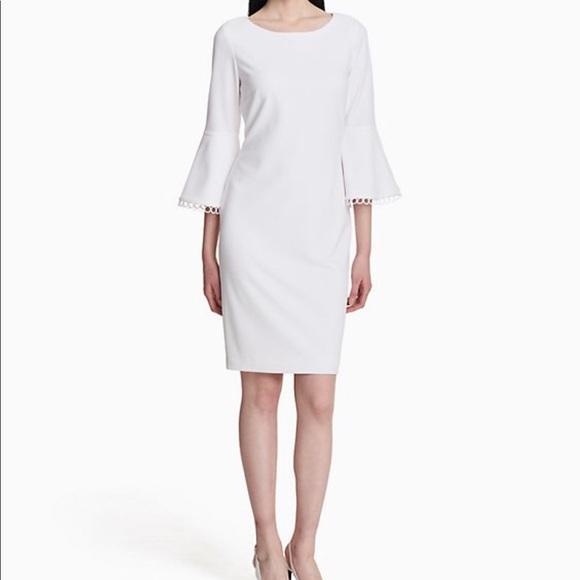 6a5ecc7a Calvin Klein Dresses | Bell Sleeve Dress In White | Poshmark